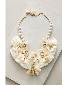 Raffia Blooms Bib Necklace