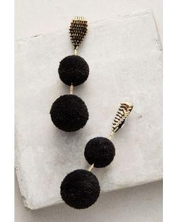 Double Pom Pom Drop Earrings