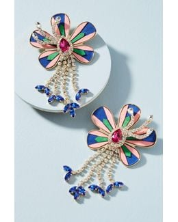 Alacantara Flower Drop Earrings
