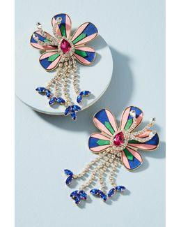 Alacantara Flower Drop Earrings