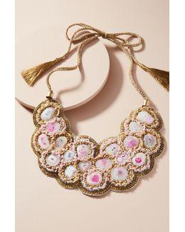 Pebbled Pink Bib Necklace