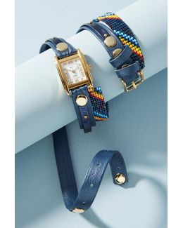 Navy Beaded Wrap Watch