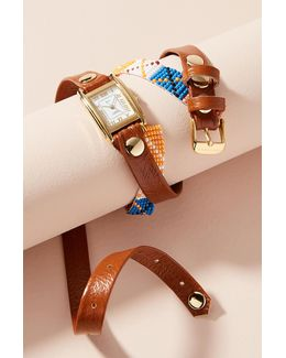 Brown Beaded Wrap Watch