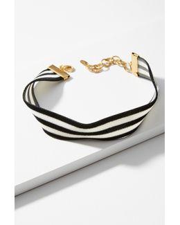 Constrast Stripes Choker Necklace