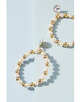 Gilded Pearl Hoop Earrings