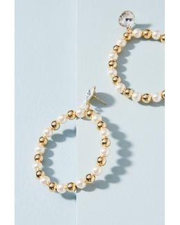 Gilded Pearl Hoop Earrings