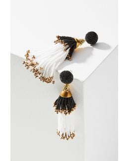 Beaded Double Tassel Drop Earrings