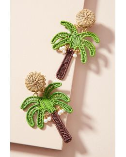 Woven Palm Tree Drop Earrings