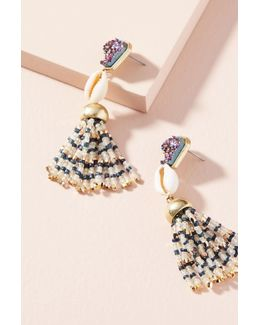 Cowrie Tassel Drop Earrings