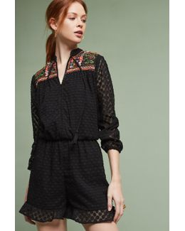 Evensong Embroidered Playsuit, Black