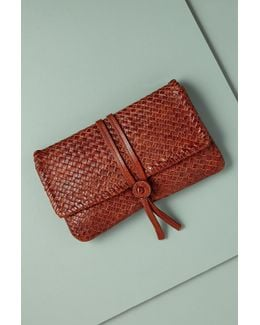 Elva Woven Leather Clutch
