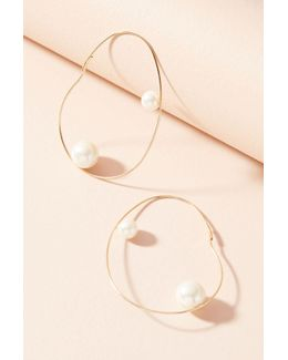 Mod Pearl Hoop Earrings