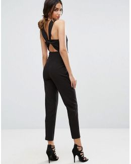 Wrap Front Jumpsuit With Twist Back And Self Tie