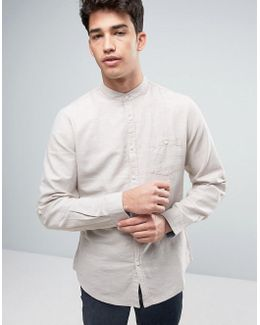 Cotton Linen Grandad Long Sleeve Shirt
