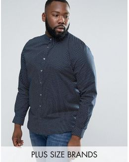 Plus Shirt In Slim Fit With Printed Dot Detail