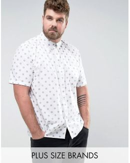 Plus Short Sleeve Shirt In Regular Fit With Dot Print