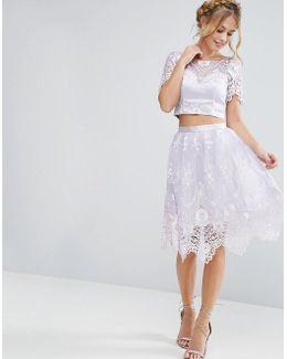 Midi Skirt In Scallop Lace