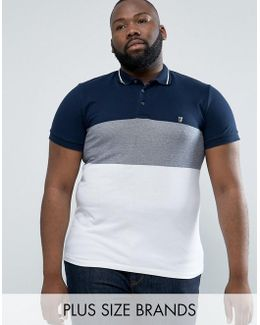 Plus Polo Shirt With Block Stripe