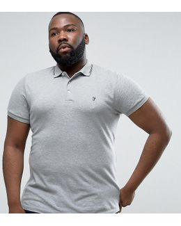 Plus Polo Shirt With Twin Tip Collar
