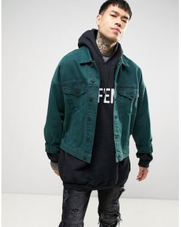 Oversized Denim Jacket In Bottle Green