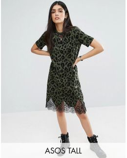 T-shirt Dress With Lace Inserts In Leopard Print