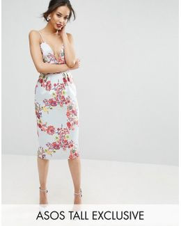 Salon Midi Pencil Dress With Embroidery And Ruched Waist Detail