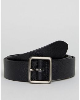 Smart Slim Leather Belt With Square Buckle In Black