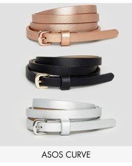 3 Pack Metallic Waist And Hip Belts