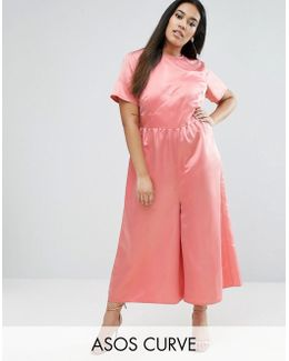 Occasion Tea Jumpsuit In Pink Satin