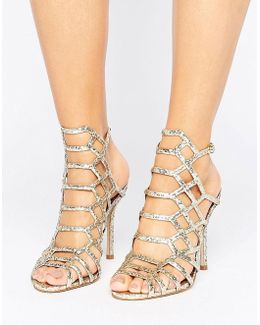 Slithur Gold Glitter Caged Heeled Sandals