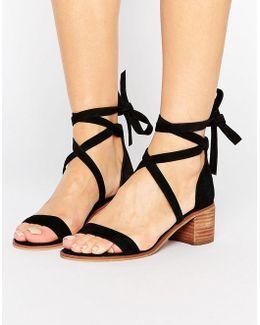 Rizzaa Suede Tie Block Heeled Sandals