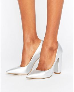 Primpy Metallic Block Heeled Shoes