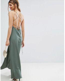 Plunge Strap Back Maxi Dress
