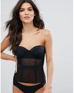 Corset Cupped Mesh Insert Longline Bikini Top