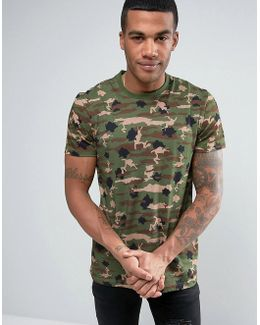 T-shirt With All Over Camo Print