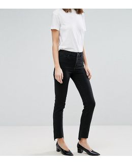 Castile Pencil Straight Leg Jeans In Washed Black With Stepped Hem
