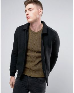 Knitted Bomber With Canvas Collar