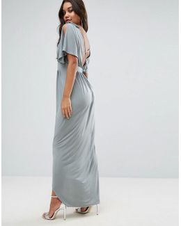 Embellished Strap Grecian Maxi Dress With Cross Back