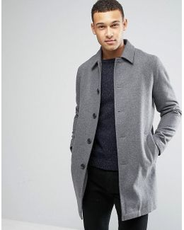 Wool Mix Trench Coat In Light Gray Marl