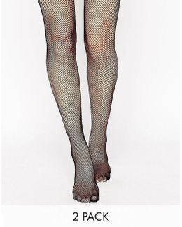 2 Pack Oversized Fishnet And Fishnet Tights