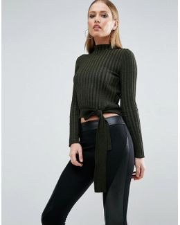 Crop Sweater In Rib With Turtleneck And Tie
