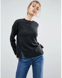 Oversized Sweater With Front Splits And Zips