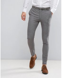 Wedding Super Skinny Suit Trousers In Mini Check In Grey