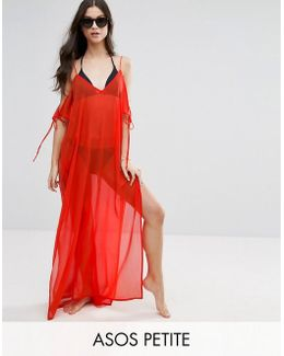 Chiffon Maxi Beach Kaftan With Cold Shoulders