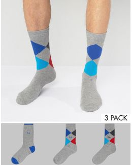 Socks With Argyle Print 3 Pack In Charcoal