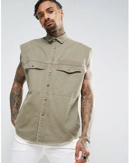Oversized Sleeveless Military Shirt In Khaki