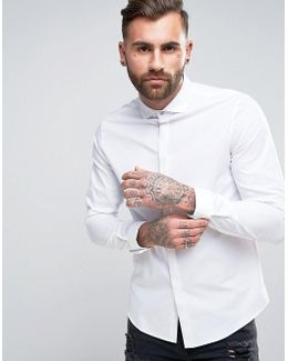 Regular Fit Shirt With Cutaway Collar And Double Cuff