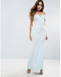 Bridesmaid Off Shoulder Fishtail Maxi Dress