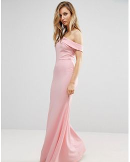 Bridesmaid Off-Shoulder Fishtail Maxi Dress