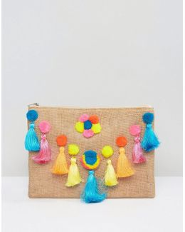 Zip Top Pouch With Pom Poms
